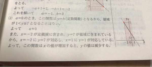 高校数学の問題です (2)関数Y=ax+b(-2<y≦1)の領域が1<y≦7であるとき 定数a.bの値を求めよ このとき解答に、X=-2にy=7が対応し とありますがX=1に7月対応することはないんですか?