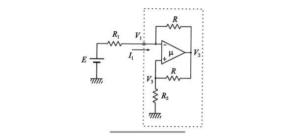 オペアンプを用いたNIC回路についてです。 図の回路でμが無限大の場合、仮想接続が成立してV-=V+,V1=V3となり 電流が一方向に流れる(電流がV1地点からV2,V3地点に流れる)とすると電圧降下の考え方から V1>V2,V2>V3となって電流=0ではないとおかしくなってしまいます。 僕の出した結論はオペアンプの入力端子における電圧によってV2が決定され、V2地点から上下に電流が流れると考えました。 今までオペアンプの問題を解いてきましたが、それらの問題では電圧源とある地点の電位差によって電流を決定し、オペアンプ内に電流が流れないことから一方向に電流が流れることを利用し、V2を求めてきました。 しかし、今回はその解き方では問題が生じてしまいました。解き方を見分ける方法はありますでしょうか。 また、μが有限の場合V-とV+に差が生じると思いますが図のI1の一部がオペアンプ内に流れることはないのでしょうか。 問題の解答にはI1が上のRに全て流れるかのようにかかれていたので疑問に思いました。