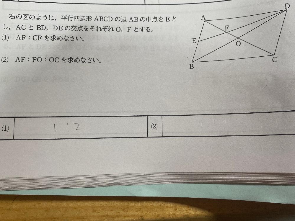 この問題の(2)が分かりません。教えてもらいたいです。