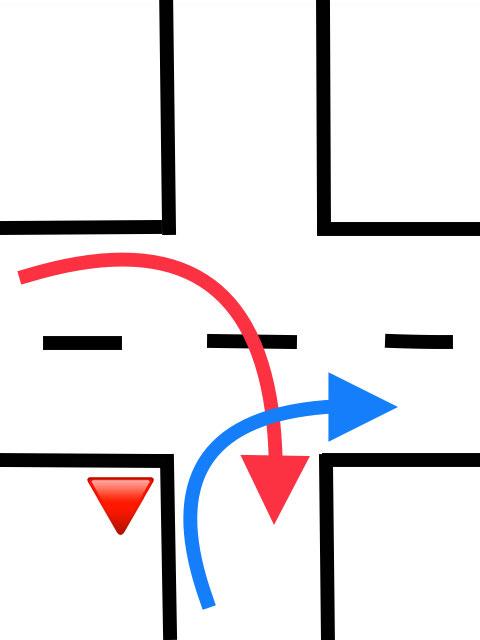信号の無い交差点です。 赤が優先ですか? 道幅が狭いので青が出てってくれたほうが入りやすいのに、出ようとしてる青にかぶるように赤が入ってきてスレスレで入りきれず赤が青を睨んでくるってのをしょっちゅう見かける交差点があります。