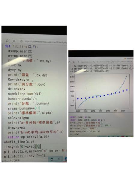 Pythonのプログラミングに関してです。 近似直線を描きたいのですが、なぜか曲線になってしまいます。 どこのプログラミングを修正すれば良いですか?