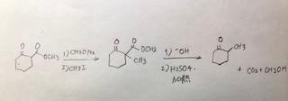 写真の反応式が合っているか確認したいので、間違っている場合は正解の方を教えていただきたいです。合っている場合は、一番右の脱炭酸の反応を行う際に、なぜ初めに-OHを添加するか教えていただきたいです。 どうぞよろしくお願い致します。