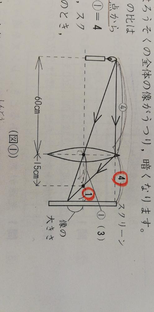 中学受験 理科 とつレンズの問題です。赤で印を付けたところが、なぜ4:1になるのか分かりません。ご教授お願いします。
