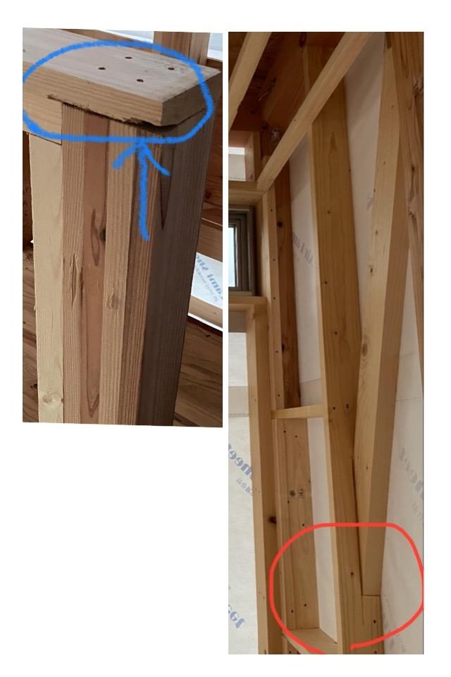 今、家を建ててるんですが、 大工さんが雑なのか、 切り込みを入れ過ぎた部分が多いので耐震的に大丈夫か不安です。 教えて頂きたいです。 宜しくお願い致します。