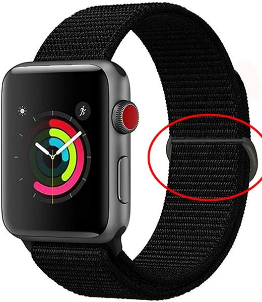 アップルウォッチのバンド(社外品)を買おうと思ったらなにか意味不明の留め具(赤丸部分)がついてるんですが、これは何でしょうか?