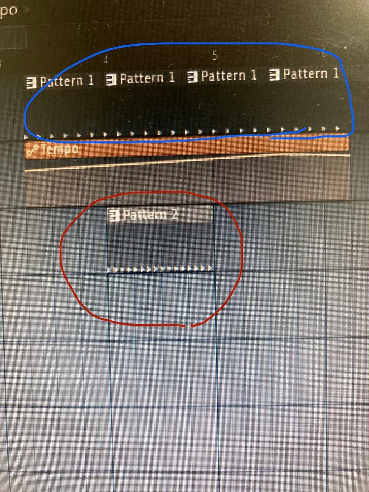 fl studio についての質問です。 写真のように青の所だけbpmを変化させたいのですか赤の所も変化してしまいます。 青の所だけを変化させる方法を教えてください。