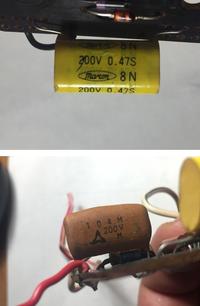 古い自動車のタコメーターの基板についているコンデンサーです。同じものを探しているのですが見つかりません。代替品としてどのようなものを選べばよいでしょうか? ①marcon 8N 200V 0.47S ②104M 200V