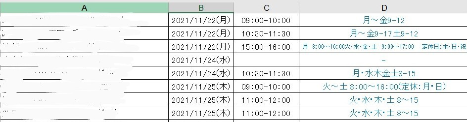 Excelで、決められた日時が、あらかじめ指定されている曜日・時間の範囲に合致するか、チェック方法はありますか? 画像A列には人の名前、 D列にはその人の希望の曜日と時間が入力されています。 (D列の値は、VLOOKUPで拾ってます) Dの希望をもとに予定を組み、 B列に日付、C列に時間を入れています。 B・C列の日時が、 D列(本人希望)の範囲内であるかどうか チェックする作業を簡略化したいです。 良い方法はありますでしょうか? D列の入力内容はかなり簡略化されている(特に時間表記。。)ので 必要に応じて修正しようと思っています。 わかりづらい質問で恐縮ですが お知恵を頂戴できますと幸いです。
