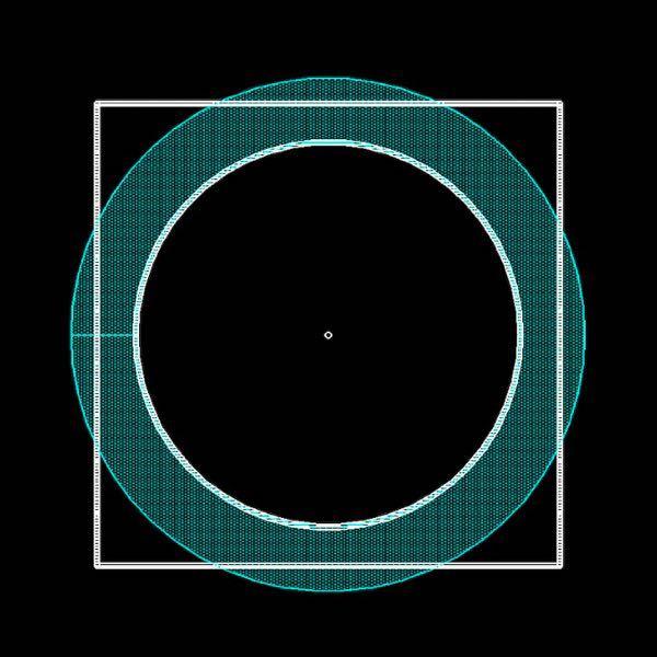 Oリングで四角い空間を埋めることは出来るでしょうか。 角パイプの中に円柱を差し込むとして、密閉をOリングで保つ事は可能なのでしょうか。 画像のような状況にて、水色のようなOリングを使えば、上手いこと角まで密閉されないでしょうか? 辺の中央付近での圧縮率が限界を超えず、角での充填率が最低ラインよりある、みたいな適切な線径は存在するんでしょうか。