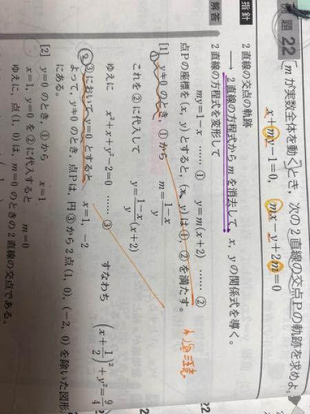 ◯数学II例 2 2 波線部①でy≠0 としたのに、何故、波線部②でy=0 とするのですか?