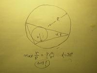 三角形の内角の最小角が20°のとき、内接円と外接円の半径比の最大は幾つですか。