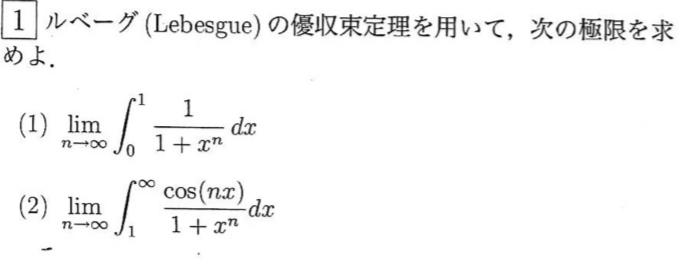 ルベーグの優収束定理についてです。
