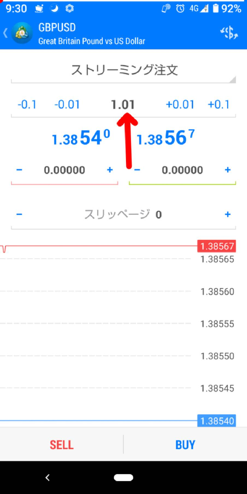 FXについて質問です。矢印の部分の名称はなんというのですか?10万円投資の場合の数値は1と教わりました。 20万円の場合は数値は2ですか?