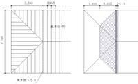 隅木受トラスのある寄棟の屋根を左図に簡単に表しました。トラスは1つです。軒の出は無いものとします。トラスが負担すると思われる屋根荷重の範囲を右図に斜線で表しました。この認識で正しいでしょうか。
