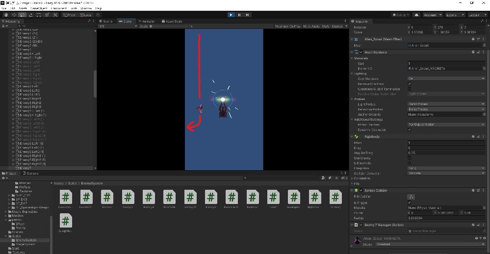 Unity C# 以下のような仕組みを実現する方法を教えてほしいです 写真のように、円を書くように90度曲がる方法を教えてほしいです。