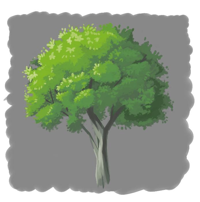 木の練習で描きました。改善点ください
