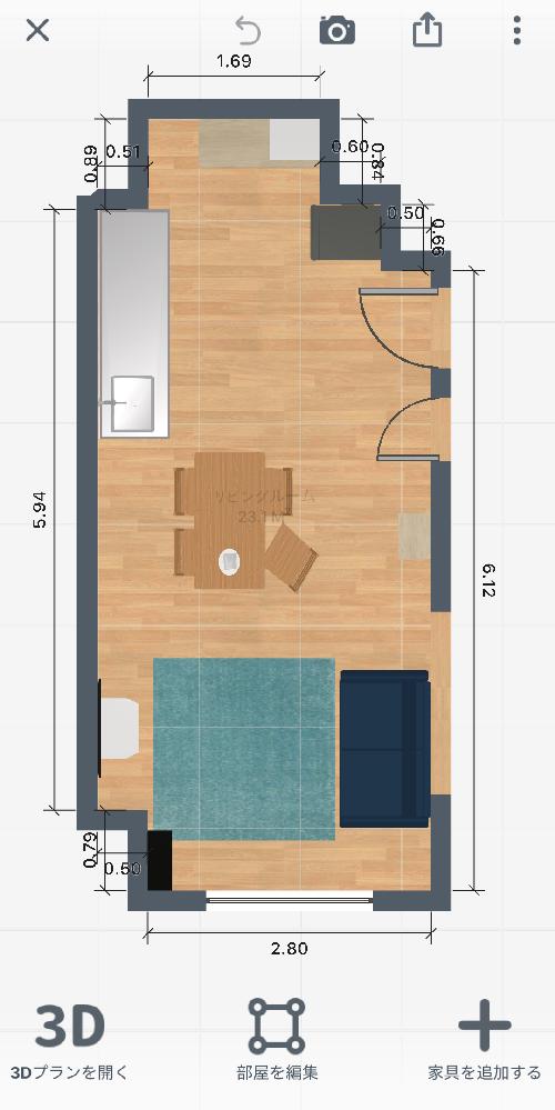 15畳LDKのレイアウトについて相談です。 近々、引っ越し予定で家具の配置を考えています。現在2人暮らしで、 今持っている家具で配置を考えてみましたが、キッチンの後ろのスペースが無駄になっている...