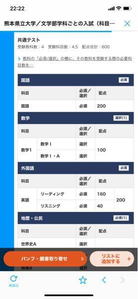 熊本県立は600点満点で自分が受けるのに必須なのは国語と英語です。この場合には必須の社会は一科目しか受けられないのですか?また、その場合他の教科を受けなければならないのですか?