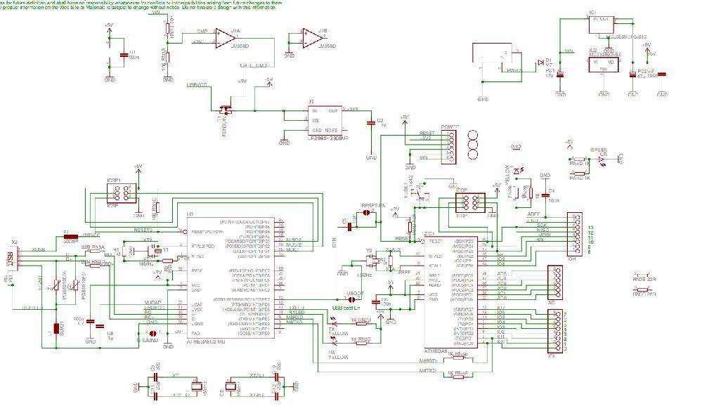 電子回路初心者です。 Arduino unoの回路図について教えてください。 写真の右上の回路は電源回路ですよね。PWRINと書いてある素子がDCジャックでその右にあるのが3端子レギュレータでしょうか。だとすると3端子レギュレータが2つ並列にしてあるのと、上側のレギュレーターは4,2が2本繋がっているのは何故なのでしょうか。あと左上にあるオペアンプがある回路はなんのために使っているのでしょうか。