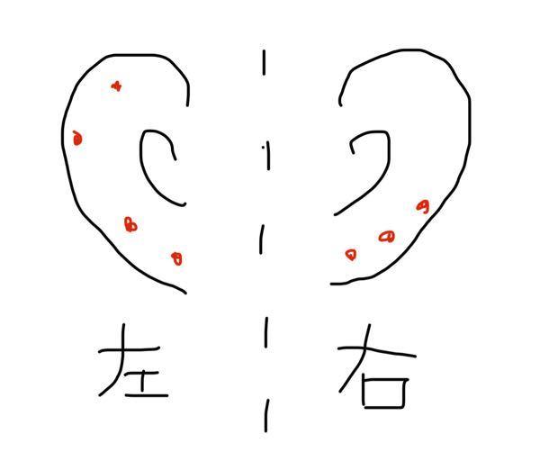 右耳にピアスを開けようと思うのですが、この画像を見て場所はどこがいいと思いますか? 赤い点はすでに開いているところです。