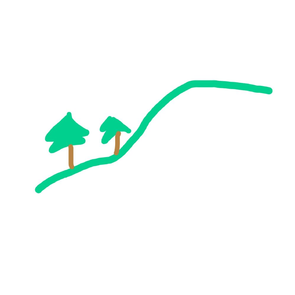 山を見ていると、稜線から数本の木がはみ出ていることがあります。 めちゃくちゃ適当な図で申し訳ないんですが、イメージとしては添付画像のような感じです。 (実際は山までそれなりに距離があるので幹の茶色は見えないです) 遠くなので正確ではないですが周りは普通に木が生えているみたいなので、開発されて数本だけ残っているというわけではないと思います。 どういう理由でこのようにはみ出た木が見えるんでしょうか? 木によって生育度合いも違うとは思うんですが、明らかに馴染んでいないので気になります…。