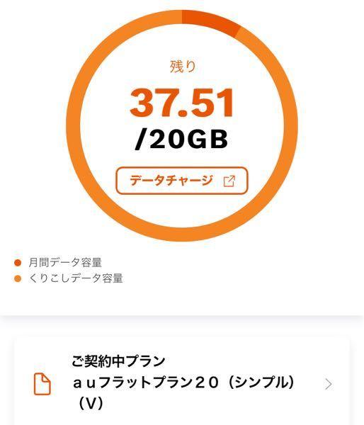 auのデータ使用量について 画像は、my auから確認したデータ使用量なんですけど、 37.51 / 20GBって書いてありますよね それは、私が選択してるプランだと余ったデータ量を繰り越せるプランだから、 本来は20GBだけど前月分もプラスされてて、今月はまだあと37.51GBも使えるよ! って解釈でいいんですかね?
