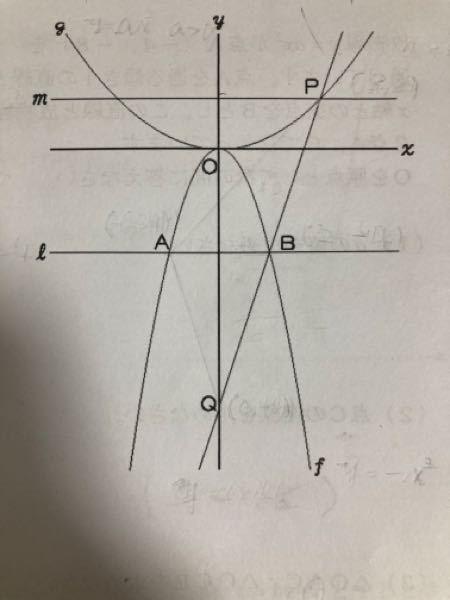 数学 中3 関数 解説付きで回答よろしくお願いします。 下の図でfは放物線y=-x²、gは放物線y=ax²(a>0)、lはx軸に平行な直線で、点Bのx座標は2、mは直線y=2である。放物線gと直線mの交点pのx座標が2より大きい時、2点P、Bを通る直線とy軸との交点をQとする。 また、△PAQの面積は24である。 1. 点Aの座標を求めよ。 2. 点Qのy座標を求めよ。 3. 直線PQの方程式を求めよ。 4. 放物線gの方程式を求めよ。 以上です。 解説付きで回答していただければと思います。 よろしくお願いします。