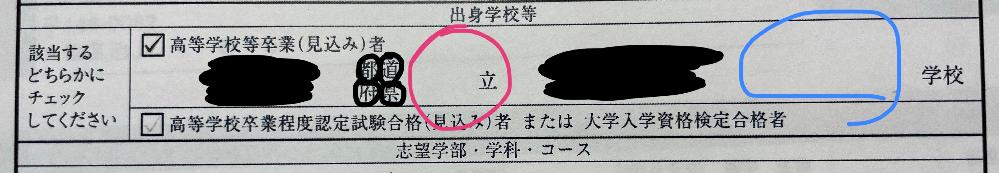 大学の志望理由書の出身学校の欄で私は公立高校なのですがピンクの丸がついているところに「公」と書くべきなのでしょうか。また、青の丸がついているところに「高等」と書くべきなのでしょうか。 至急お願いいたします!