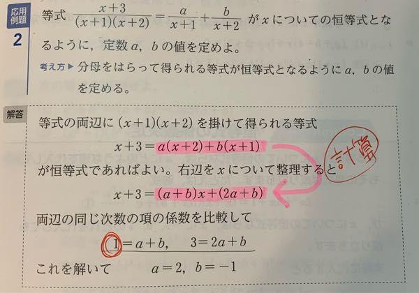 数学です。 この解答の6行目からの計算がわからないのですが、1=a+b、3=2a+bでa=2,b=-1になる理由を教えてください。