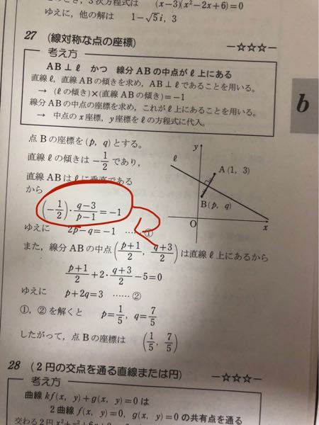 数学2について質問です。 印のところですが、なぜこうなるのかわかりません。