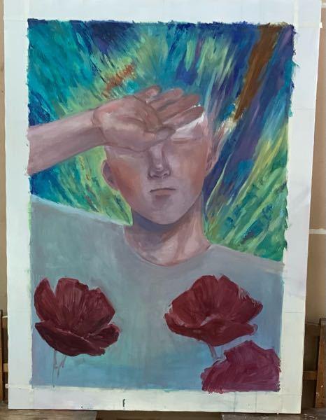 イラスト(絵画)の添削をお願いしたいです…! 油彩で描いているものなのですが人物の身体(特に肩周りや腕)に違和感を感じてしまって…どう直せばいいか分からず途方に暮れています 加筆修正大歓迎です…...