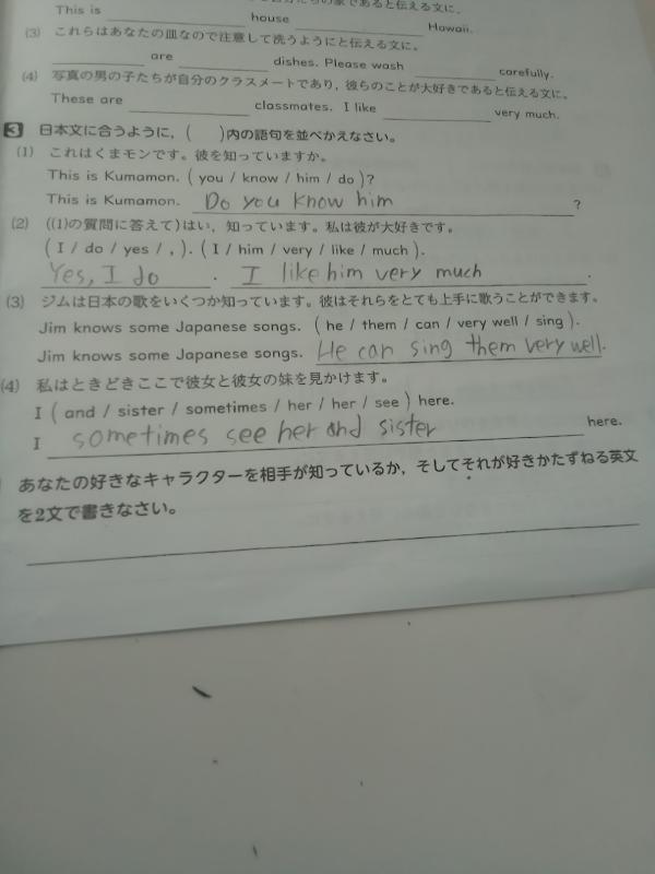 1番下の問題で僕は好きなキャラクターを「ドラえもん」にして問題に記入しようと思うんですが、どういう英文を書けばいいですか?