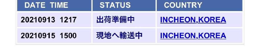 9月12日(日)に韓国から荷物が発送されたのですが、佐川(SGX)の追跡画面上で、4日間 「現地へ輸送中」のままから更新されてません。 この「現地へ輸送中」はどういう意味なのでしょうか? ちなみに最終到着場所は愛知県ですが、 韓国からだと、こんなにも日数がかかるのでしょうか?