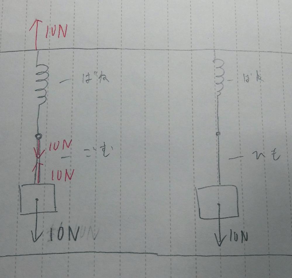 高校1 物理基礎 力学 物体の重さ10N バネ定数5.0N/m の時なぜ2m伸びるのですか。 ひもの時2m延びるのはわかりますが、ゴムひもには弾性力は働かないのですか? 分かりやすくお願いします。