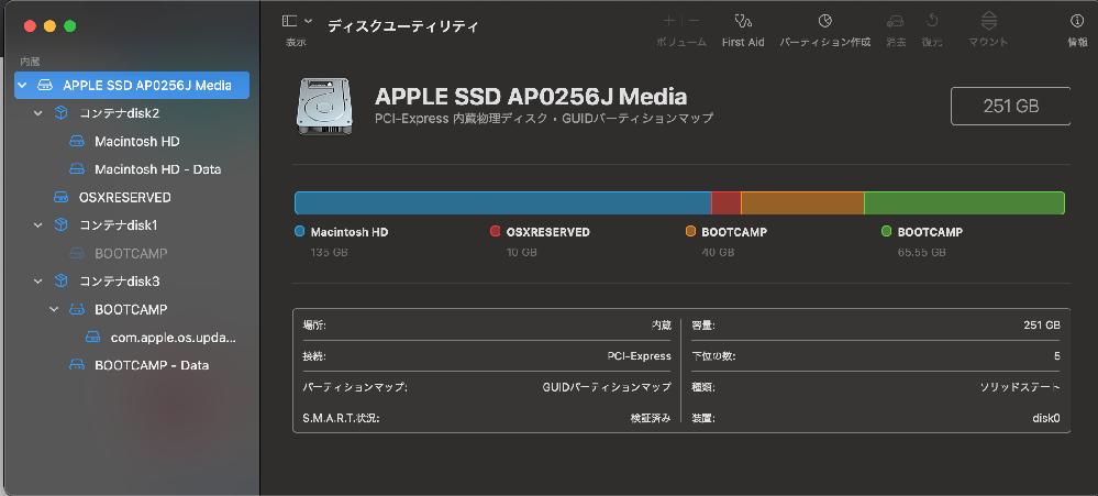 macbookの容量のことです。 macbookの容量(ストレージ)がMacintosh HDとBOOTCAMPとがあるのですが、詳しくわからないのですが、メイン?優先?の保存先としてBOOTC...