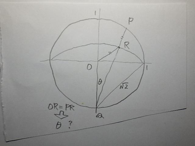 <スッキリ角> 図のようにO中心の円と、円上のQ中心の弧がある。円上の任意点PとQを結んだ線が弧と交わる点をRとしたとき、OR=PR のときの角度 θ は何度ですか。 :
