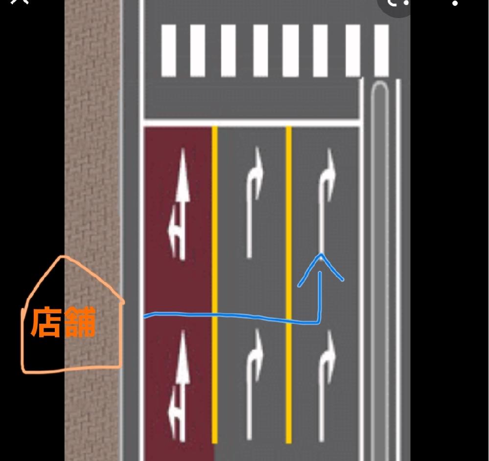 図のように、店舗から出て1番右車線に行きたい場合、 ①黄色実線でも越えて行ってもいい ②越えたらダメなので遠回りしてでも左車線を走行 どちらになりますか? 都内にざらにあって、いつもどっちだろうと悩んでいます。。