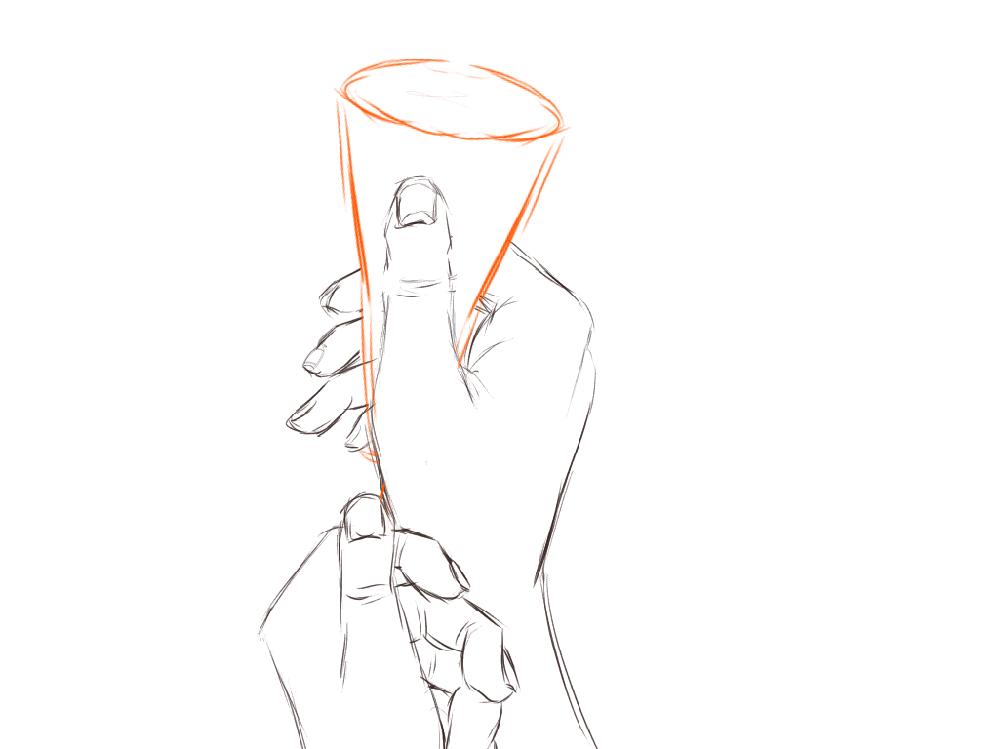 (再投稿失礼します……) イラスト添削お願いします! 中学2年の女子です。 パーティーなどで使うクラッカーを持っている男性の手を描きました。 実際の手を見ていない、デッサンの勉強をしたことがないので不自然なところもあると思います。(色塗りをしていなくてすみません…線画のうちで直しが効く時にご指摘いただきたかったので) ご指摘お願いします。 (前回の投稿でご指摘頂いたところを直してみました。辛口評指摘でも全然大丈夫です)