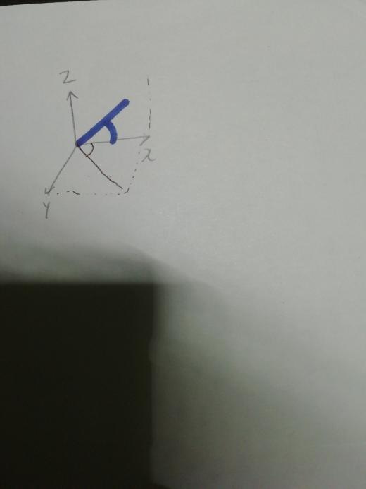 空間ベクトルについて x軸となす角とは以下の画像の青色か黒色かどちらの角でしょうか?