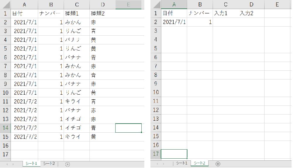 エクセルVBAを教えて頂きたいです。 「シート2」タブのA2セルの日付が「シート1」タブのA2セルの日付と一致する、 かつ、 「シート2」タブのB2セルの数値が「シート1」タブのB2セルの数値と一致した時、「シート1」上の条件に合致する行のC列の文字を順に結合して「シート2」タブのC2セルに表示、 そして、 「シート1」上のD列の文字を順に結合して「シート2」タブのD2セルに表示する。 上記を実現するコードを書きたいのですが、どのように書けば良いのか分かりません。どなたかコードを教えて頂けないでしょうか?宜しくお願い致します。
