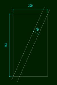 JWCADで画像の様な線の描き方を教えてください 長方形の寸法がわかっていて、その二つの角にそれぞれ交わる平行線を引きたいです 長方形の辺の長さと平行線の幅だけがわかっているときの線の引き方か角度の求め方がわかればと思います 画像の図は平行線を引いてから長方形を描いて寸法は適当に入れたのでいい加減です よろしくお願いします