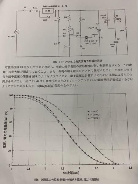 トライアックによる交流電力制御の回路を製作し、Word文書(画像)の実験方法で負荷端子電圧の波形を観測したのですが、制御角の求め方が分かりません。教えてください。