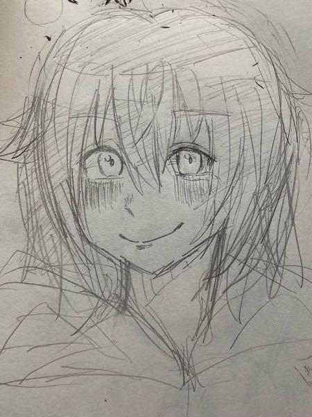 イラスト評価、赤ペンお願いします… 学生が趣味で描いている絵です。ボーイッシュな女の子の顔を今描いてみたんですけど、なにか違和感があります…どこがおかしいとかよろしくお願いします。絵が上手くなりたいです…