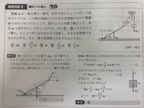 高校物理について 僕は棒と床の接点の周りのモーメントを考え、 ℓcos30度×Tcos30度=ℓ/2cos30度×mg という等式を作り、解いたのですが、 m=√3M となってしまいます。どこが間違っているのか教えていただけますでしょうか。