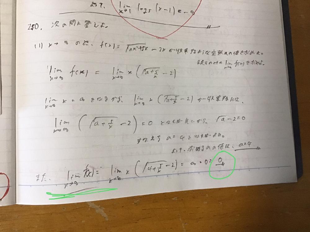 数学lllで写真の緑で示した部分の極限の答えが解答と異なってしまいました。解答はそもそも最初からf(x)の式を有理化して解いていたのですが、自分の解答はどこが間違っているのですか? 有理化はしていませんが、a の値a=4はあっているしこことういうミスが見つかりません。間違っている箇所を理由とともに詳しく教えてください。