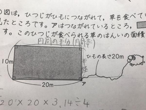 下の図は、ひつじがひもにつながれて、草を食べいる様子を上から見たところです。アは繋がれているところ、◼️は建物を表しています。この羊が食べられる草の範囲の面積を求めましょう。 という問題で、20×20×3.14÷4までは分かったのですが、20×20×3.14÷4×3の×3がどこから出てきたのか全く理解できません。 お手数おかけしますがだれか教えてください。