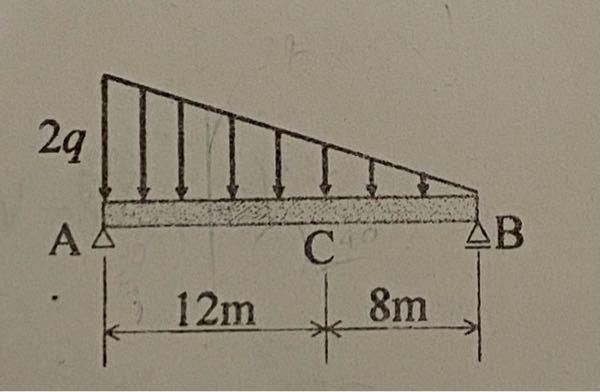画像には単純支持ばりのAB区間に三角形分布荷重が作用しています。VA=40q/3、VB=20q/3 と求めることができたのですが、C点で切断した時の断面力(QC)を求めたいのですがAC区間は台形になってしまいます。どのようにし て断面力を求めればいいのか分かりません。解法を教えてください。お願いします。