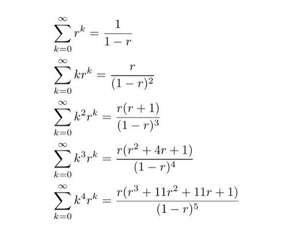 n階微分の法則と級数について質問です。 まず画像を見てください。このように 1/(1-r)を微分すると1/(1-r)²になり、 rを掛けて微分するとr/(1-r)²になり、 またrを掛けて微分するとr(r+1)/(1-r)³になり、 k⁴rᵏの右辺も微分すると (r⁴+26r³+66r²+26r+1)/(1-r)⁶になります。しかしこれにrを掛けて微分すると今度は (-r⁵-57r⁴-302r³-302r²-57r-1)/(1-r)⁷で急に規則性が破れている気がします(wolframさんが計算ミスした可能性もあるかもしれないですが....)。 これは何故でしょうか?