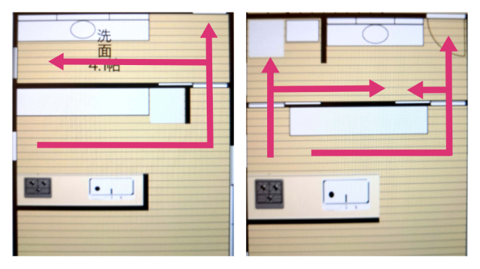 左右の間取り… どっちも微妙だけど… どちらが良いと思いますか。私の思うメリットデメリットは以下の通りです。 ・左の間取り メリット 洗面スペースがかなり大きく取れる デメリット 大きいゴミ箱の置き場に困る 動線が微妙 ・右の間取り メリット 回遊同線?が確保できる 大きいゴミ箱が置ける 冷蔵庫を隠せる デメリット ゴミ箱と冷蔵庫への距離が少々ある 洗面台が理想より狭くなる なお右上の矢印の奥には、洗濯スペース兼脱衣所があります。 以上を踏まえた上で、どんな間取りにすれば良いかアドバイスお願いします。 ※変更は、このイラストにあるスペースのみで行いたいです…