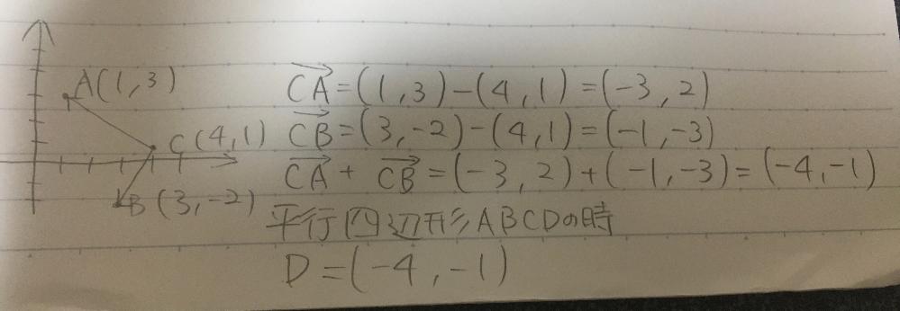 ベクトルの問題で、答えがD(2、6)になるのですが、どこが間違ってるのかわかりません。お願いします